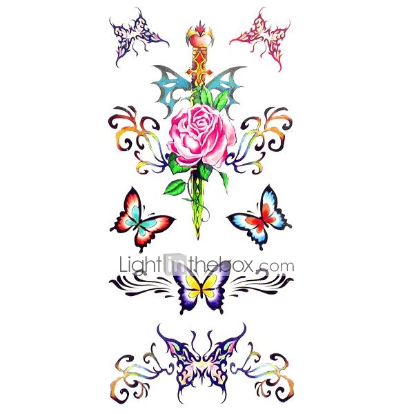 1pc Waterproof Women S Temporary Tattoos Back Wrist Neck Tattoos