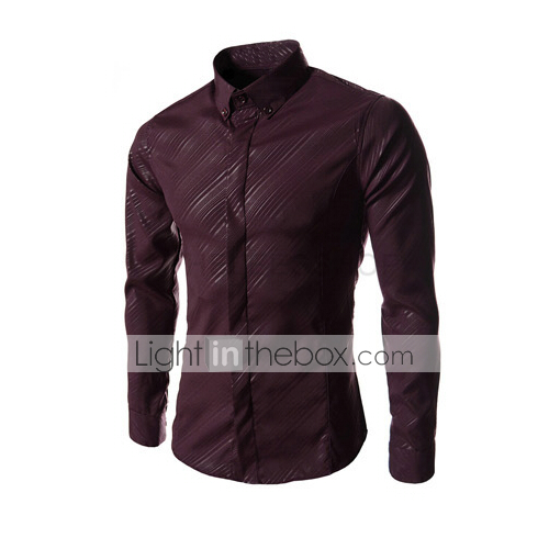 1fd362ce1053 Men's Daily Formal Work Business / Classic & Timeless Shirt - Solid Colored  Pure Color Navy Blue L / Long Sleeve #03781795
