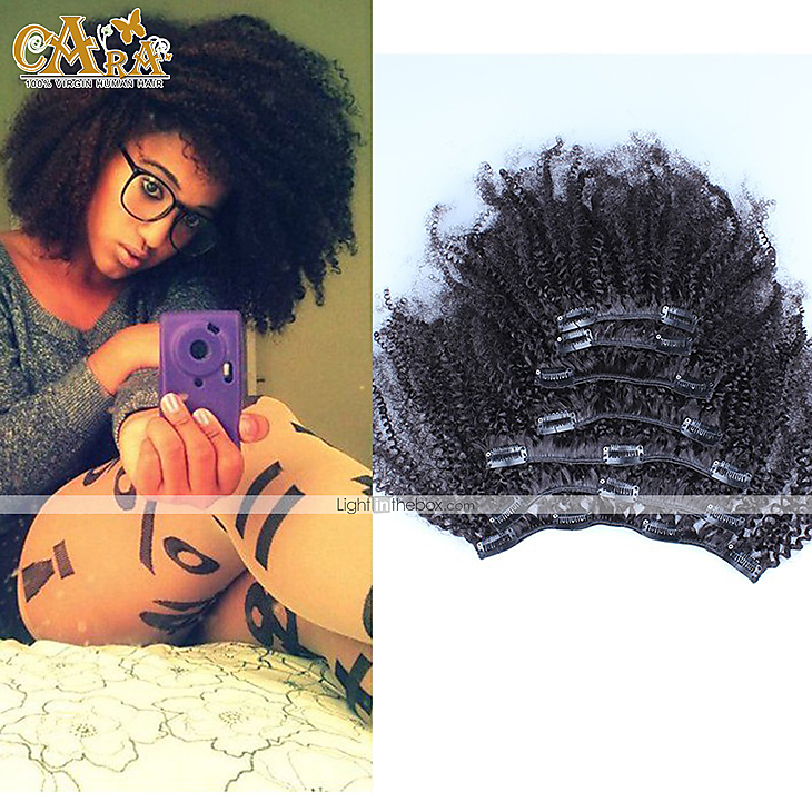 Afro kinky curly clip in human hair extensions mongolian hair clip photos pmusecretfo Choice Image