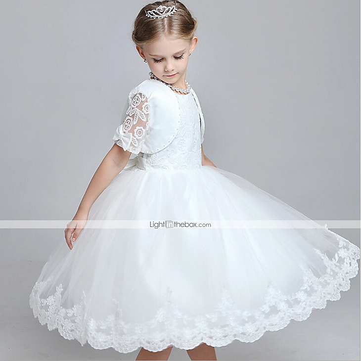 A-line Knee-length Flower Girl Dress - Cotton / Lace / Tulle ...