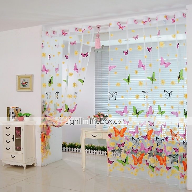 200cm 100cm butterfly print sheer window panel curtains room divider new for living room bedroom - Tende a pannello ikea ...