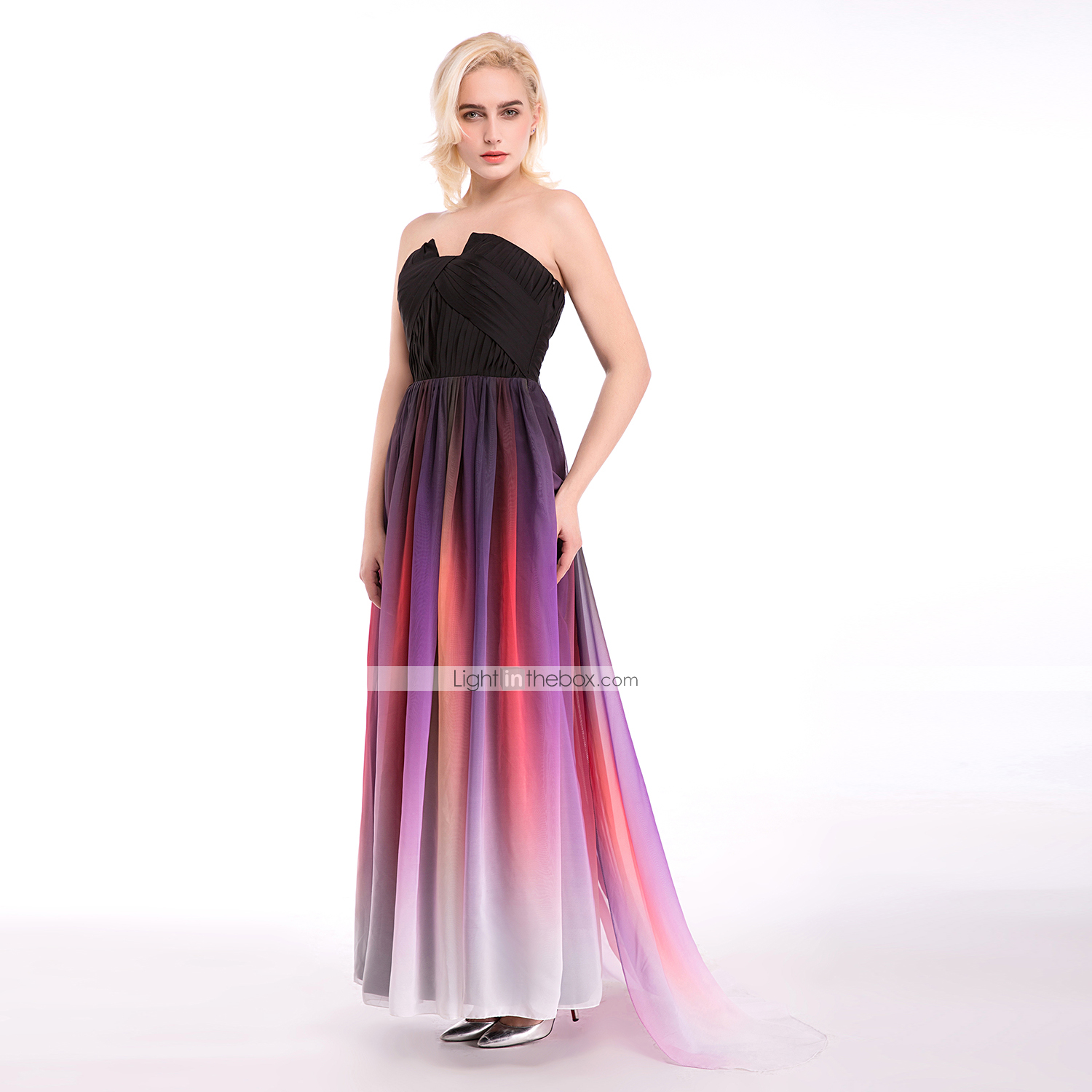 03b1a39853b Cocktail Party   Formal Evening Dress - Multi-color Ball Gown Notched Floor- length Chiffon  04763098