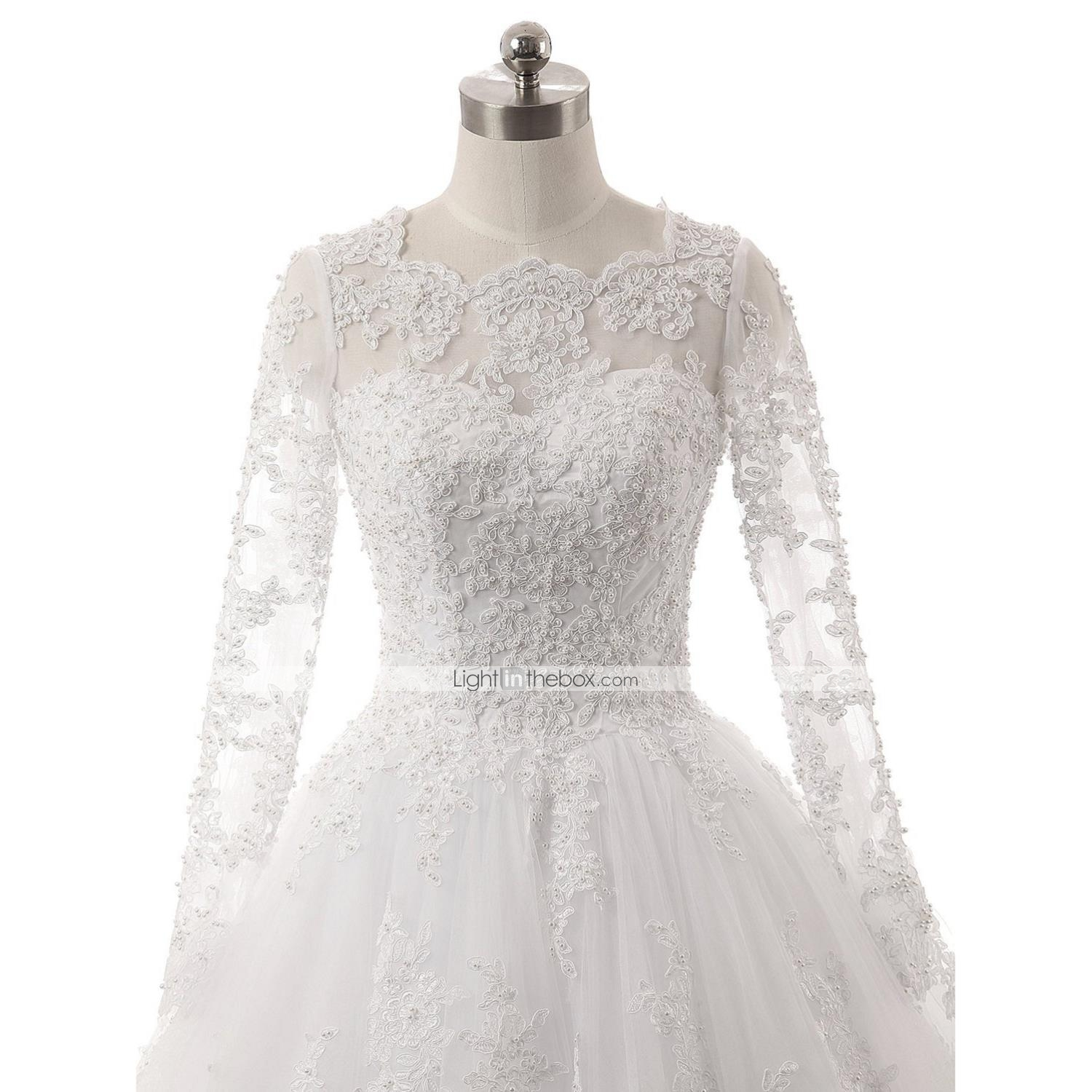 Ball Gown Illusion Neckline Chapel Train Lace Tulle Wedding Dress