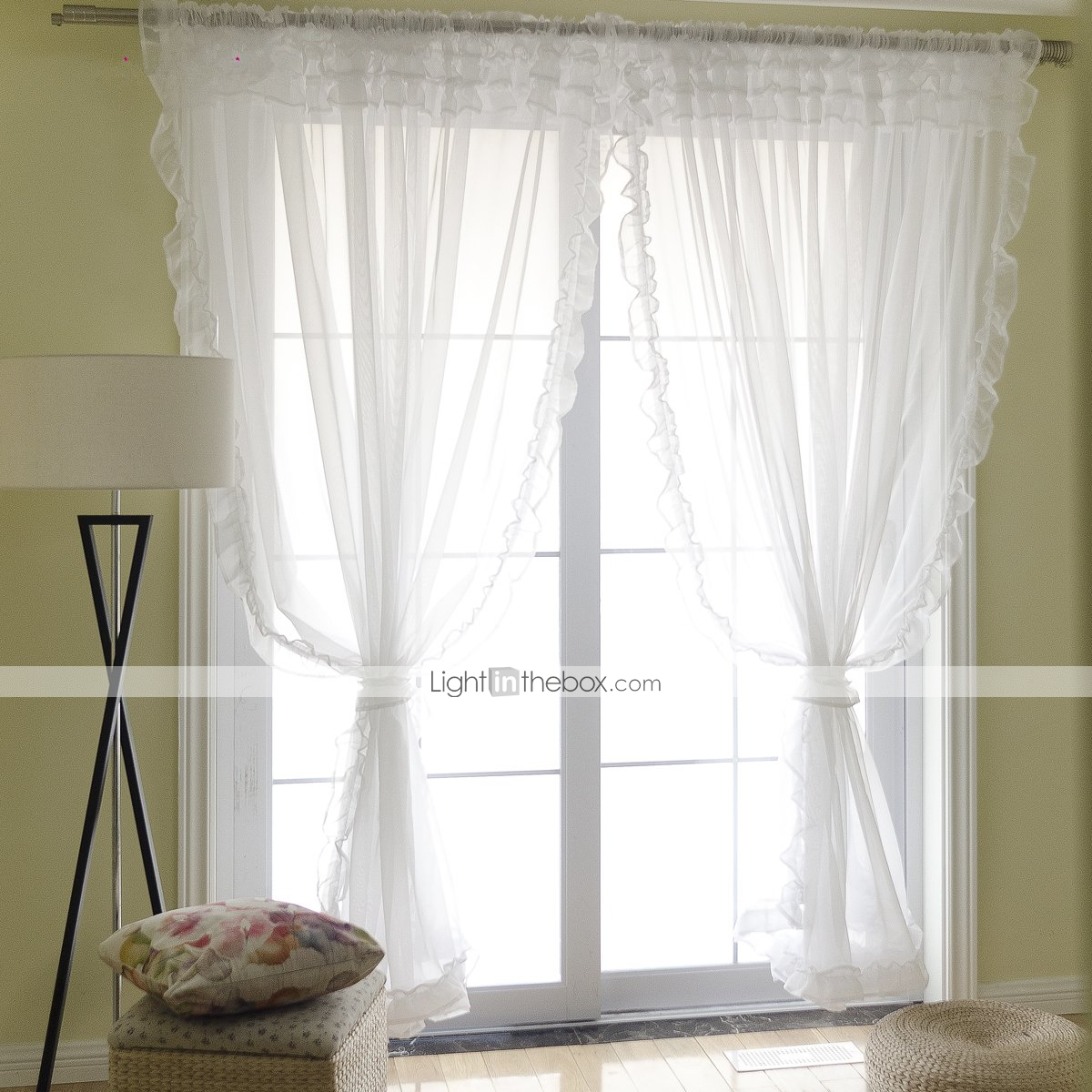 Modern Sheer Curtains Shades Two Panels Living Room Curtains