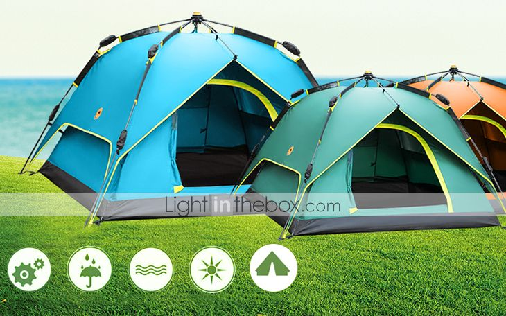 Easy Assembly and Dismantling Standard dome assembly automatic opening system contributes to an extremely fast setup and take down in a few seconds. & Shamocamel® 3-4 persons Tent Double Camping Tent One Room ...