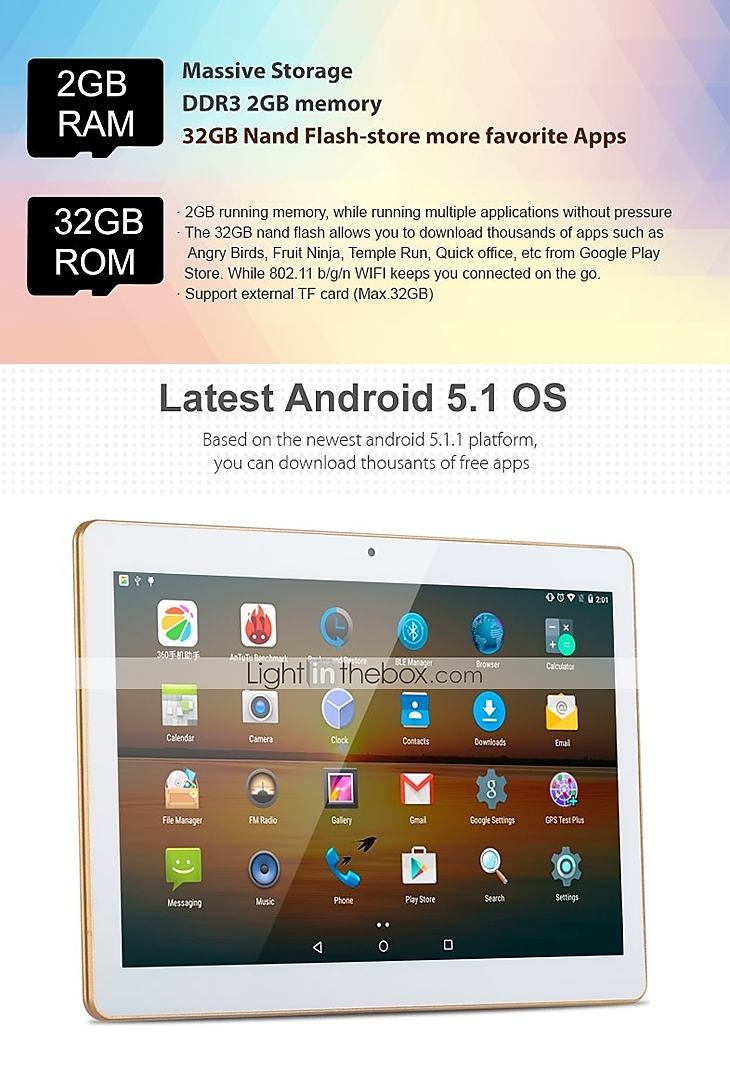 KT107 10 1 inch Android Tablet (Android 5 1 1280 x 800 Quad