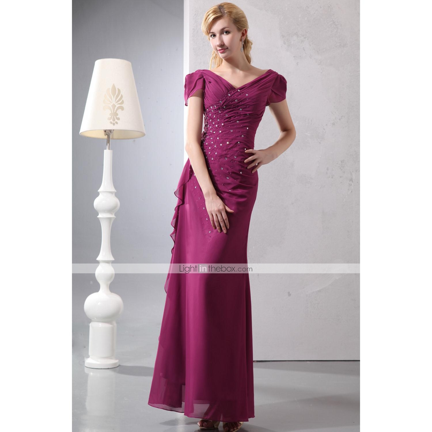 5423b965a9f Sheath   Column V Neck Floor Length Chiffon Mother of the Bride ...