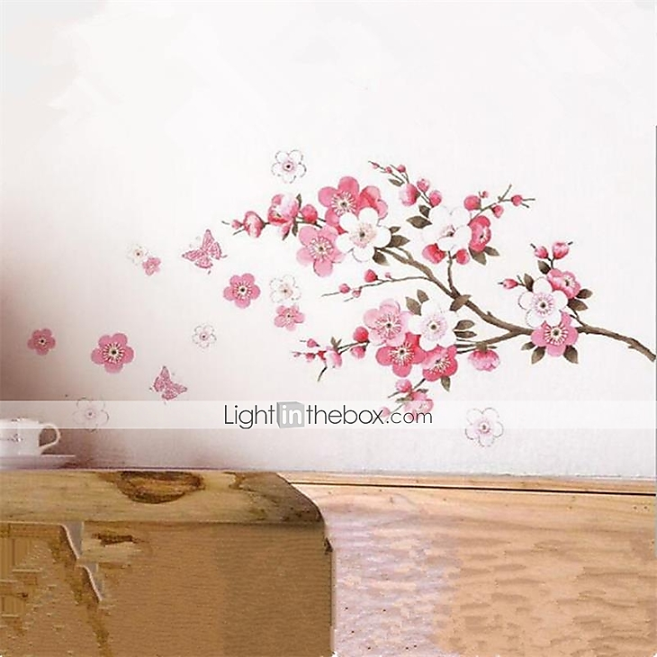 Cherry Blossom Wall Poster Waterproof Background Sticker for Bedroom Cafe Best