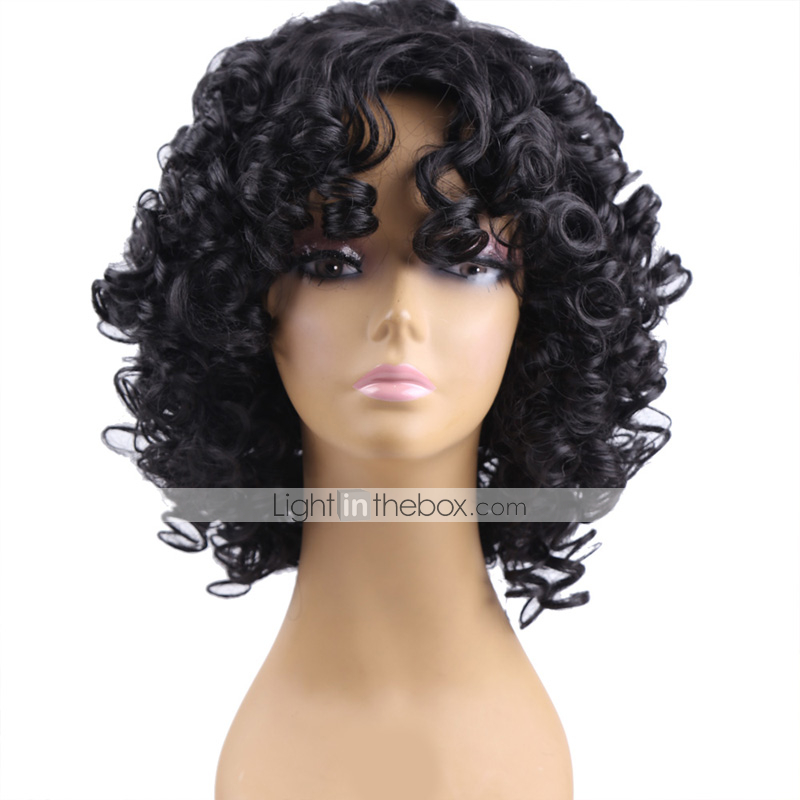 Cheap Synthetic Wigs For Black Women Curly Black Curly
