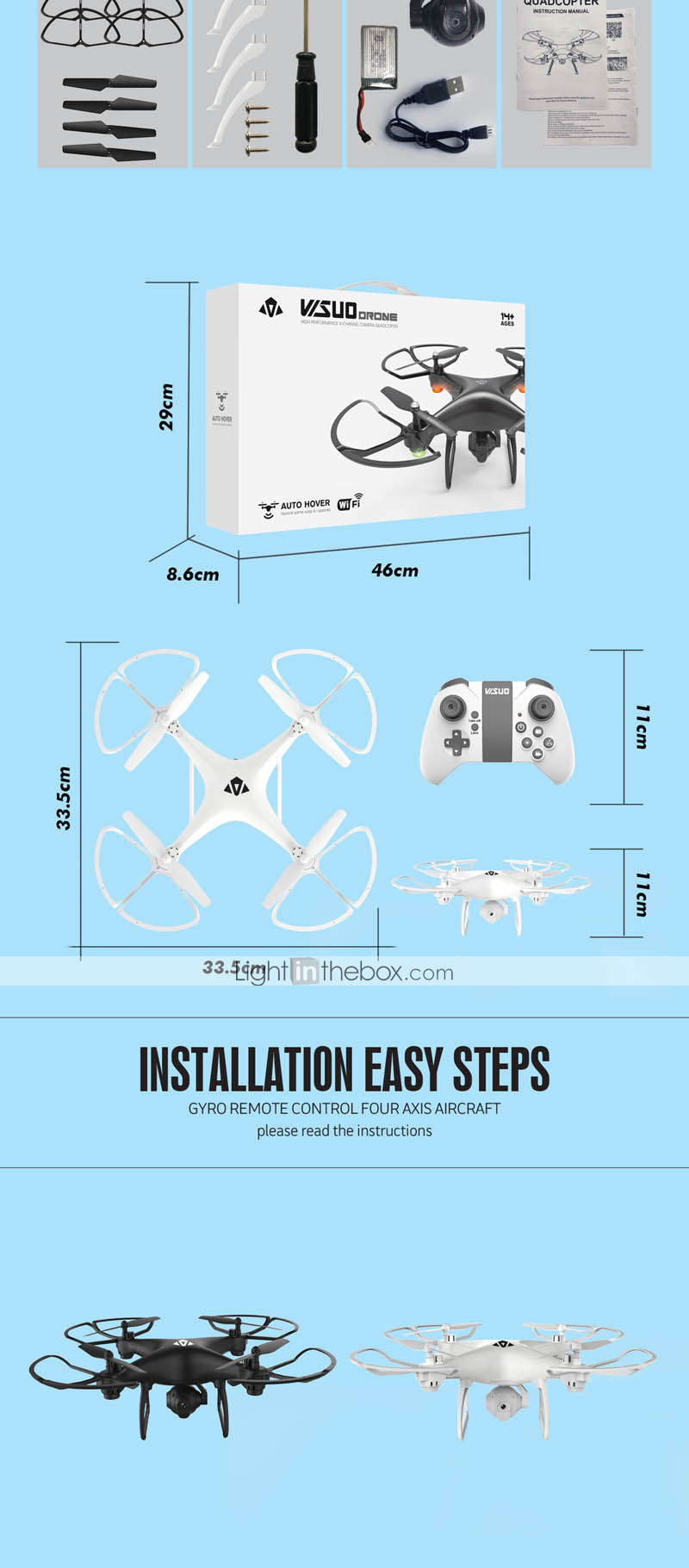 RC Drone VISUO XS808 4CH 6 Axis 2.4G With HD Camera 2.0MP 720P RC ...