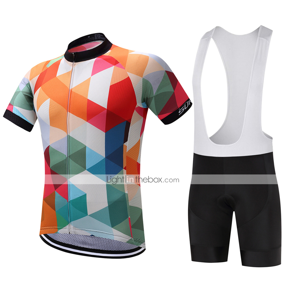 36ad5df08 SUREA Men s Short Sleeve Cycling Jersey with Bib Shorts Argyle Bike ...