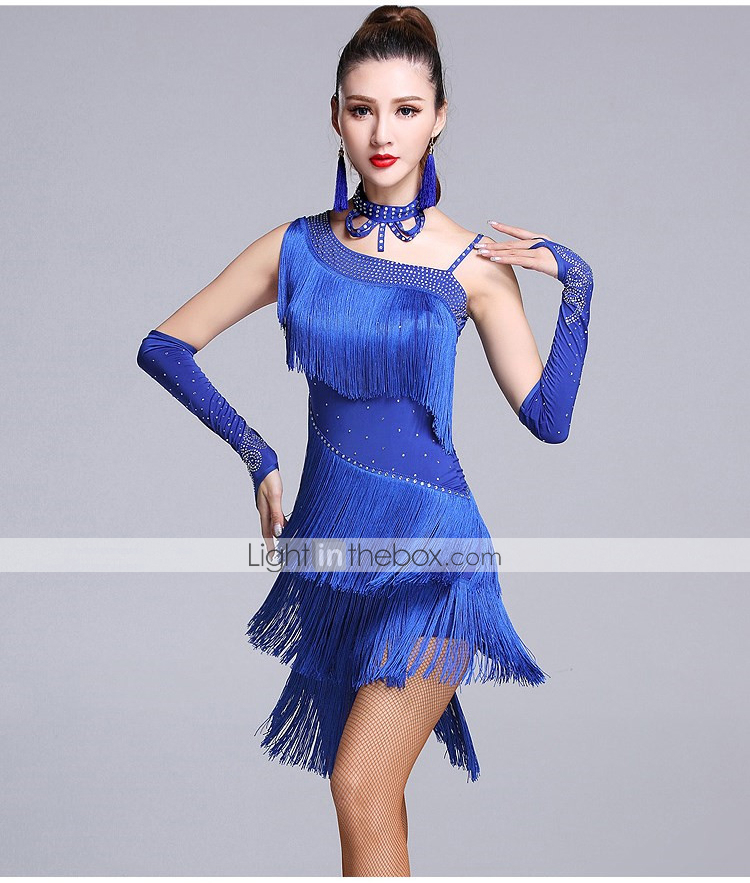8b7279d15 Latin Dance Dresses Women's Performance Viscose Tassel / Crystals / Rhinestones  Sleeveless Natural Dress / Gloves / Shorts #05806242