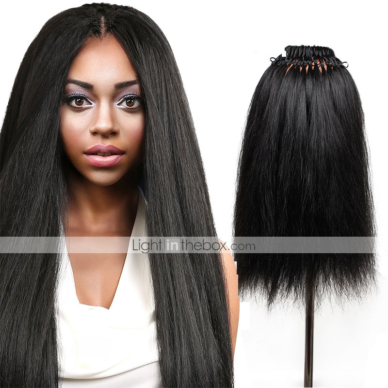 Yaki Straight Hair Pre Loop Crochet Hair Extensions 18inch Synthetic