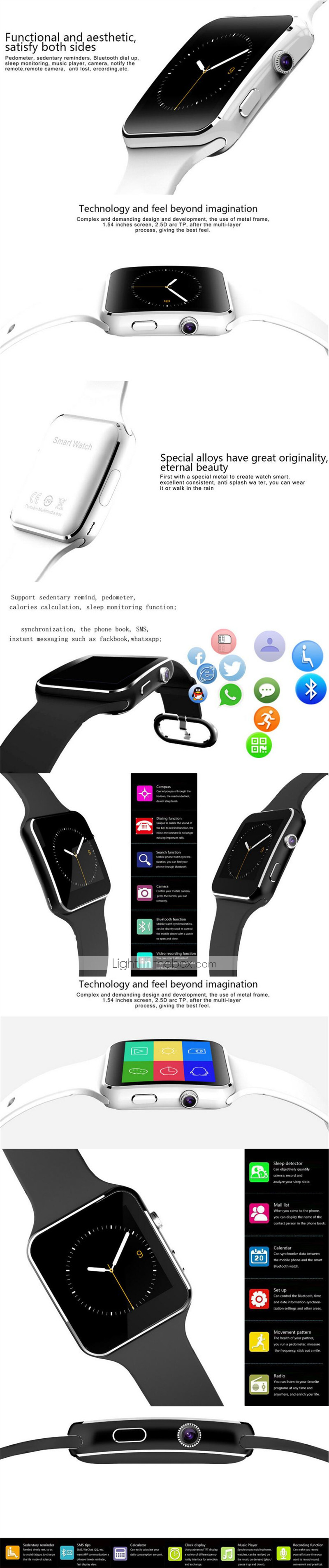 X6 Unisex Smartwatch Android Bluetooth Sports Waterproof