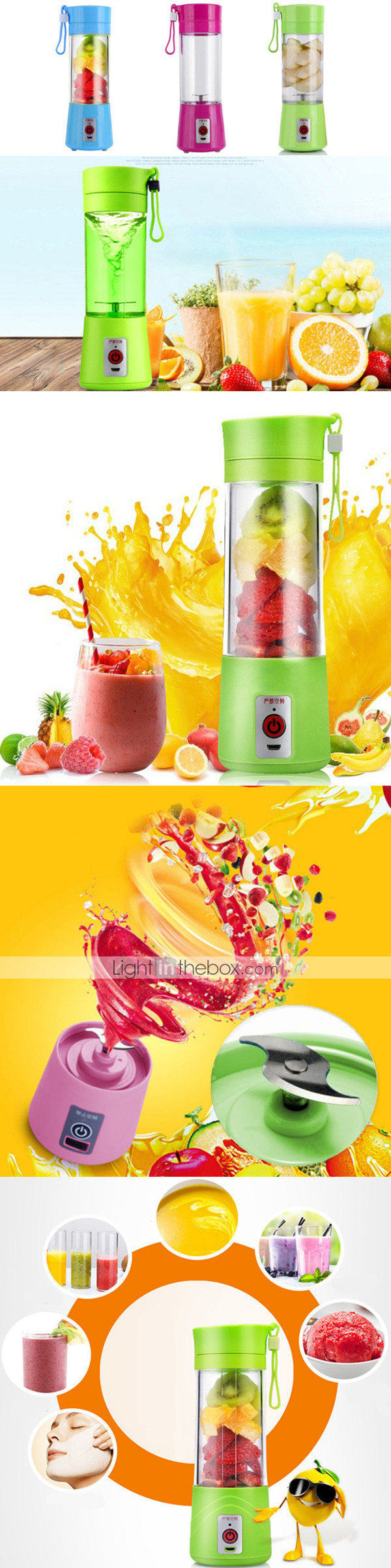 Portable Rechargeable Usb Electric Fruit Juicer Cup Bottle Lemon Battery Need Charge For 30 60 Mins Before Use It 1 When You Separate The From Basethe Forbid Light Turn Onthen Will Stop