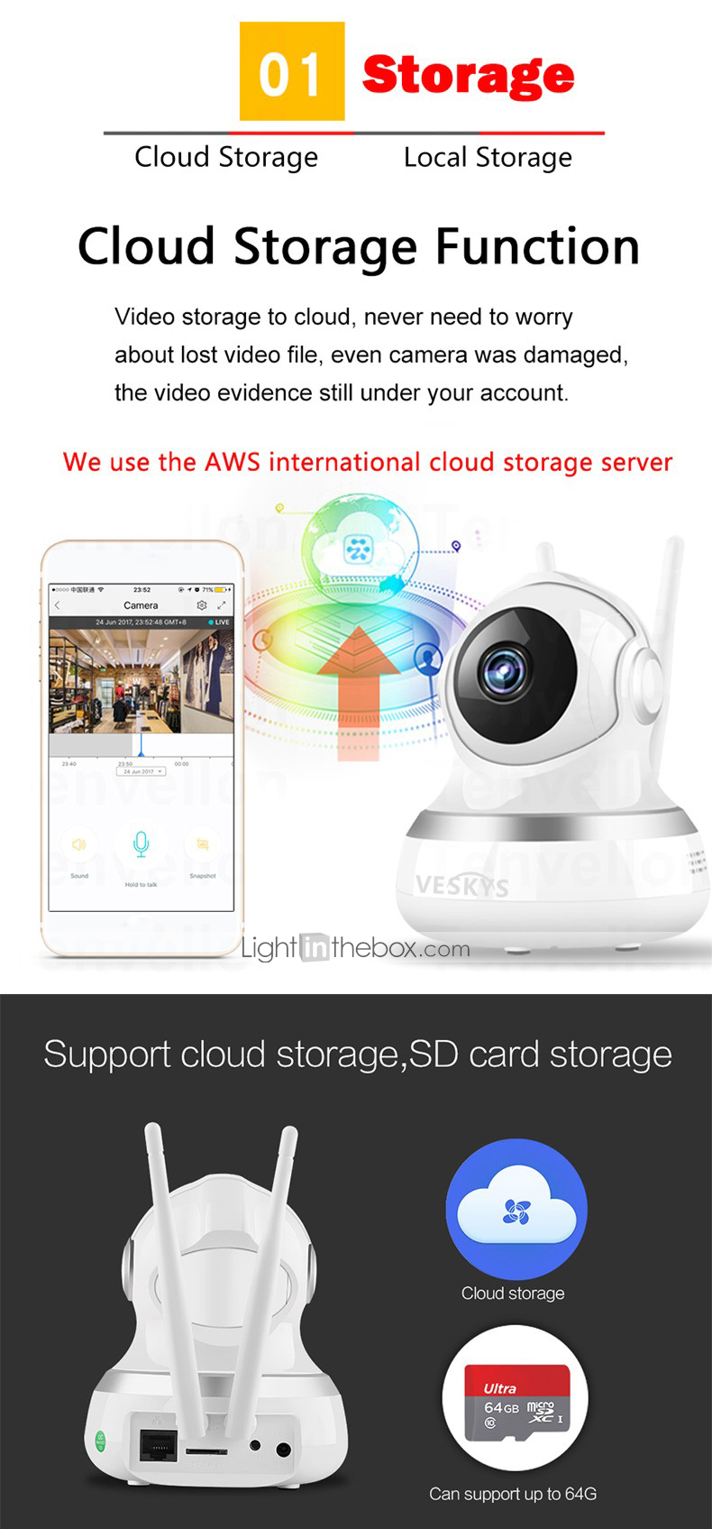 Cloud Storage Micro Sd Card Maximum Support 64gb Night Vision Ir Cut Day And Automatically Switch Functions