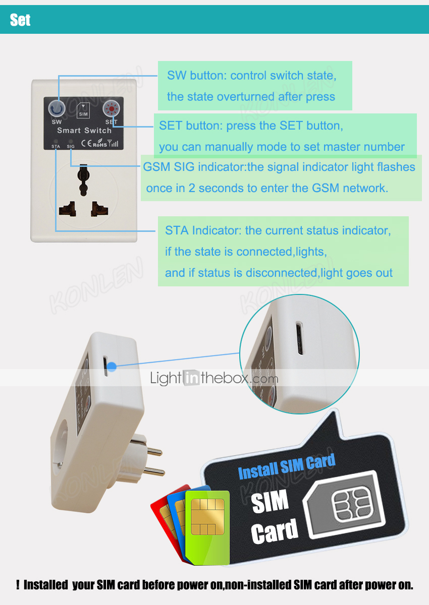 GSM Power Socket Switch Relay On Off Based Sim Card SMS Call