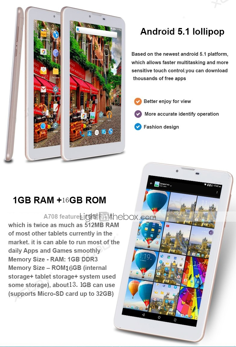 708 7 Inch Phablet (Android 5 1 1024*600 Quad Core 1GB RAM