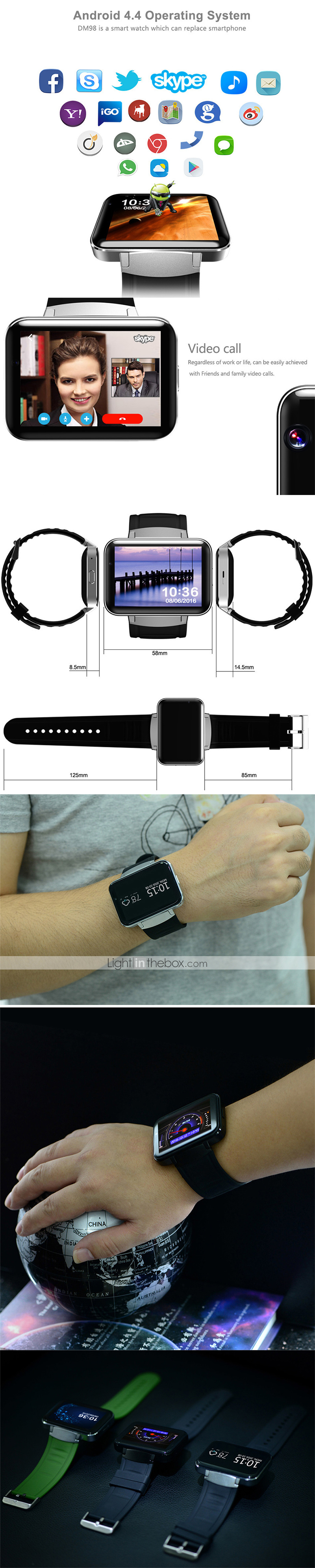 KING-WEAR® YY-DM98 Men Smartwatch Android 3G Bluetooth