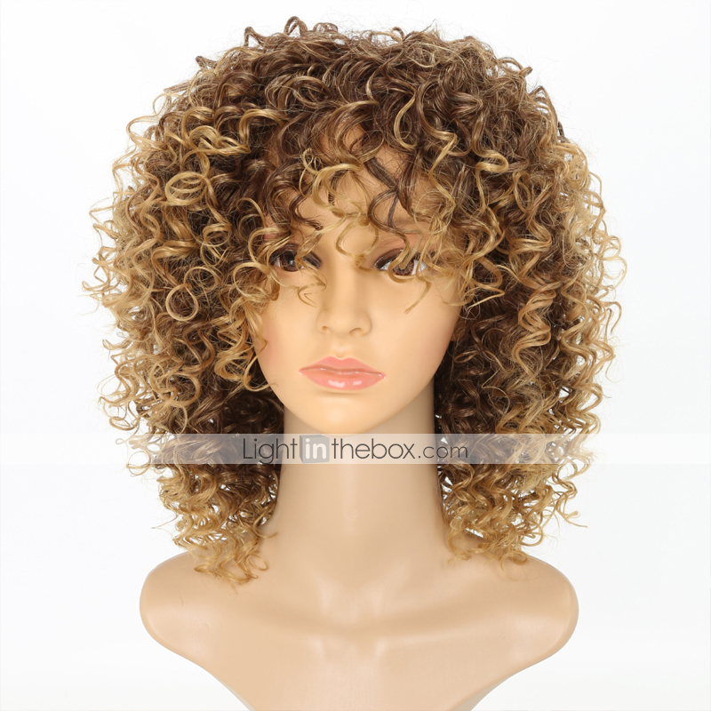 Synthetic Wig Kinky Curly Kinky Curly Wig Blonde Medium