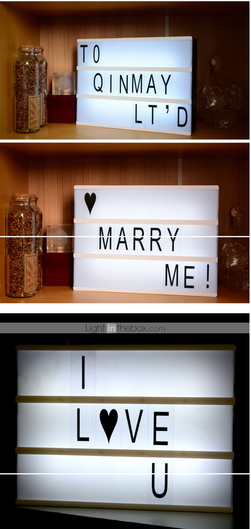 1set Lightbox LED Night Light with USB Cable Romantic Gift with ...