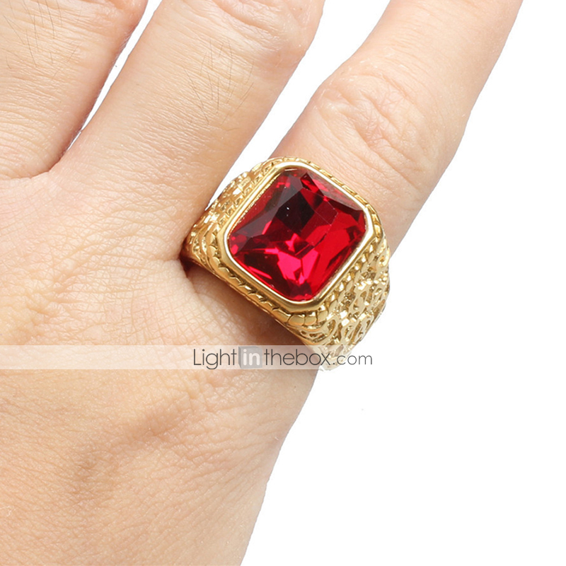 1413 ruby red simulated diamond RING STEEL ROSE GOLD stainless steel flat