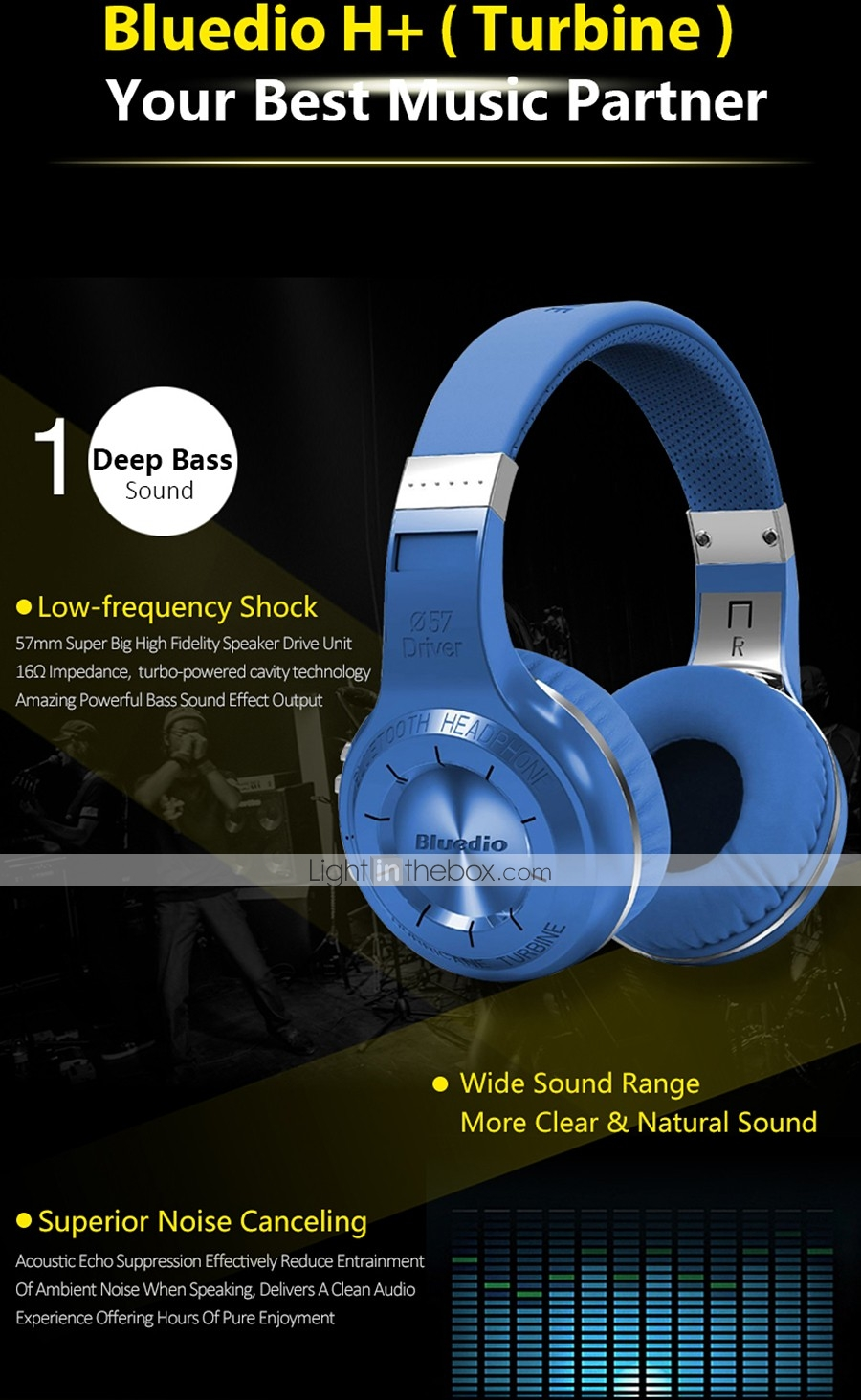 Bluedio HT Wireless Bluetooth Headphones for Mobile Phone