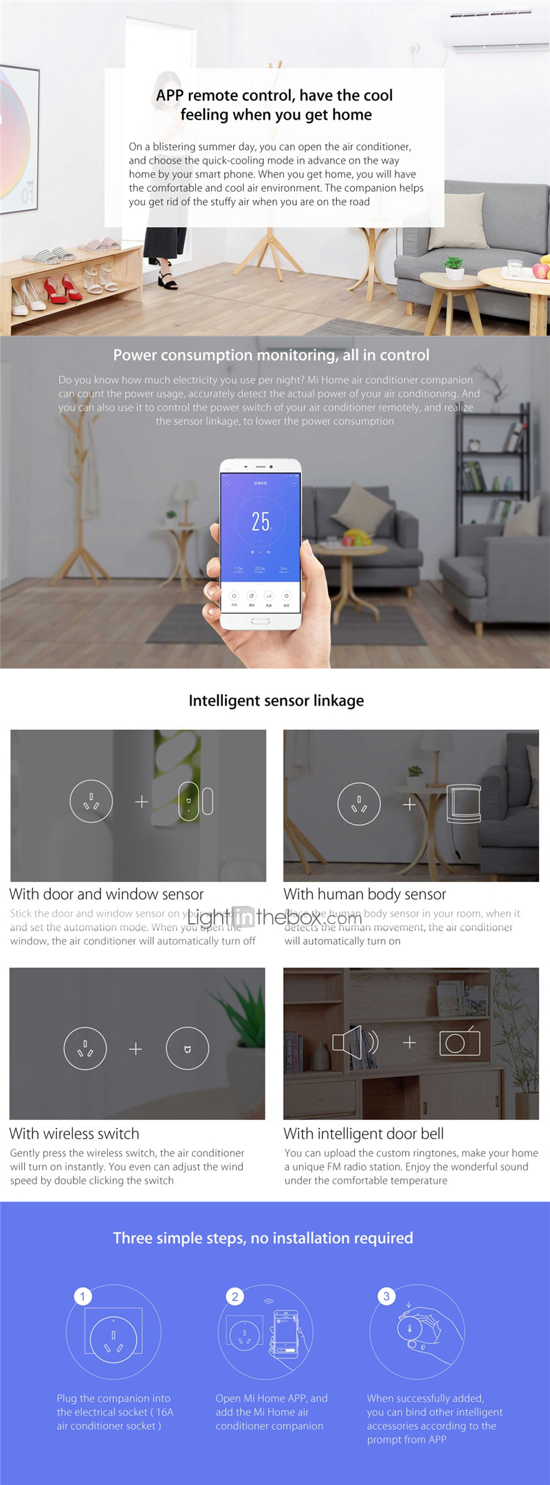 Xiaomi Mi Home Air Conditioner Companion - WHITE Smart Socket APP Control  Sleeping Mode WiFi ZigBee Technology Power Monitor APP Control