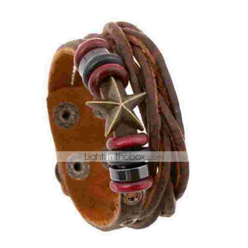 3dba2a22e Men's Women's Wrap Bracelet Leather Bracelet Layered Star Simple Leather  Bracelet Jewelry Brown For Daily #06507664