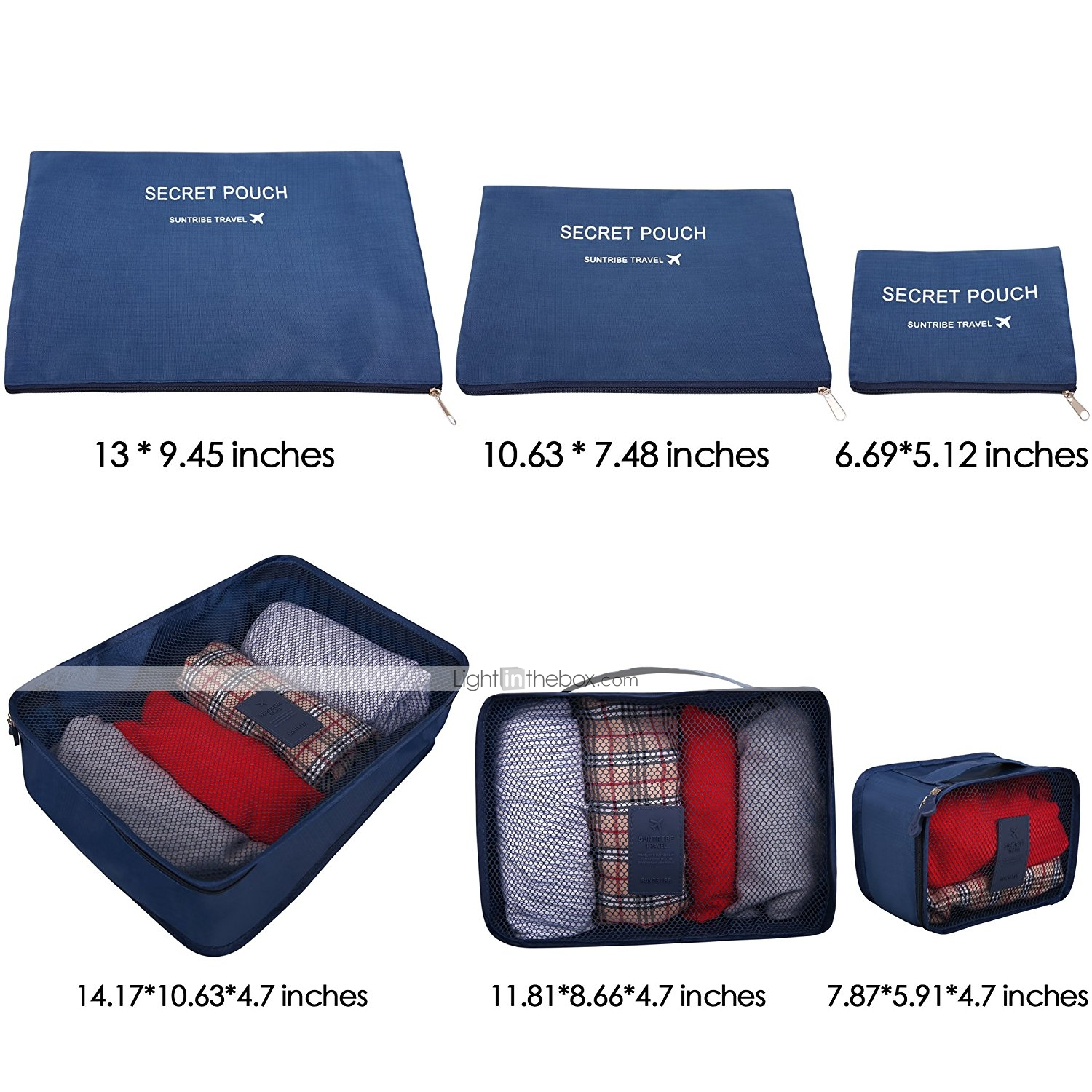 6 Sets Travel Bag Luggage Organizer Packing The In 1 Secret Pouch Organiser Bgo 15 Photos