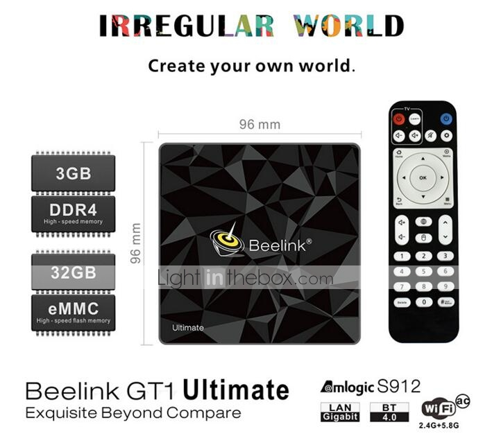 Beelink GT1 Ultimate TV Box Amlogic S912 Octa Core BT 4.0 3GB+32GB 5G WiFi