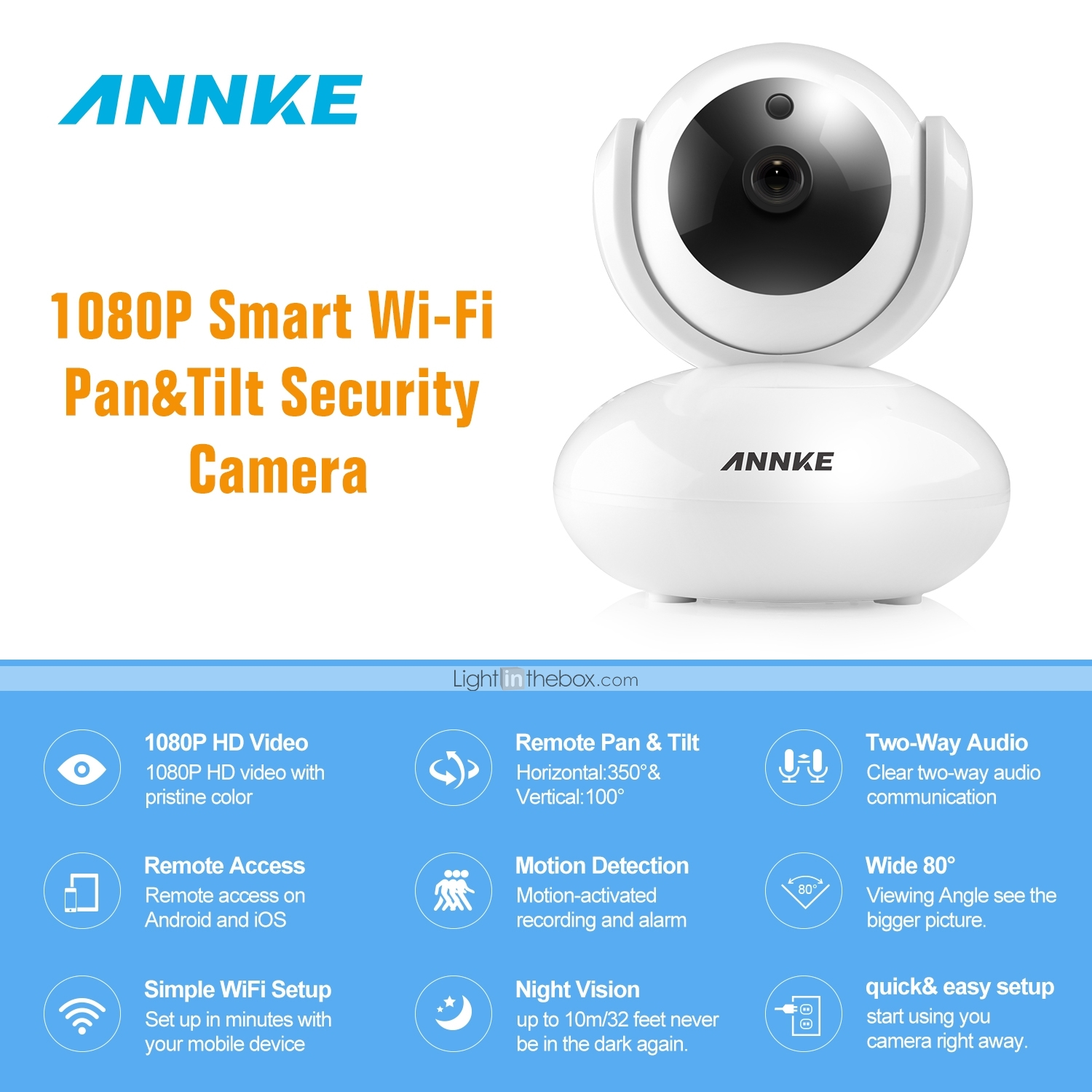 ANNKE® 1080P HD IP Camera Two Way Audio Wireless Pan Tilt Security