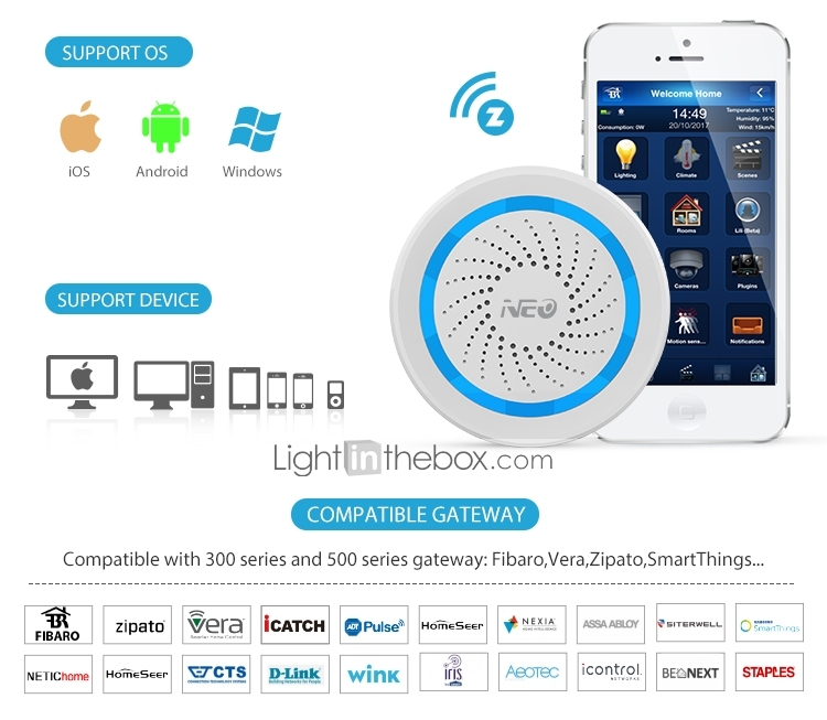 NEO NAS-AB02Z Z-Wave Siren iOS / Android for Home / Office
