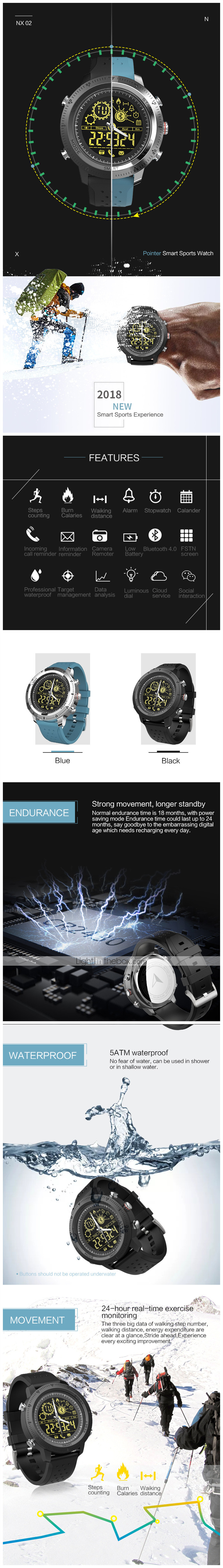KUPENG NX02 Men Smartwatch Android iOS Bluetooth Waterproof