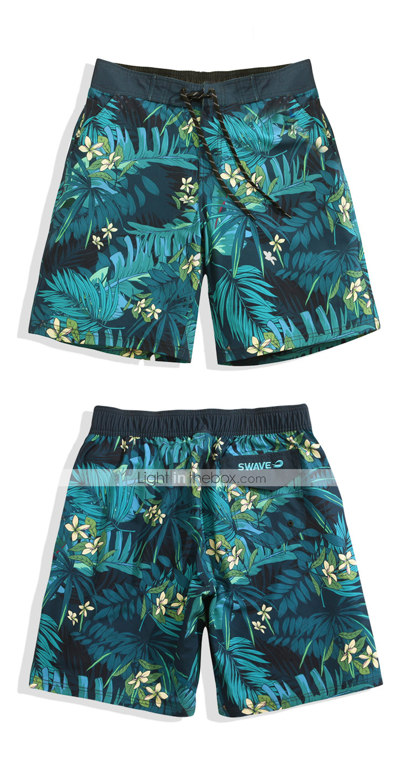 Mens Quick Dry Beach Shorts Halloween Night Floral Boardshorts Swim Surf Trunks