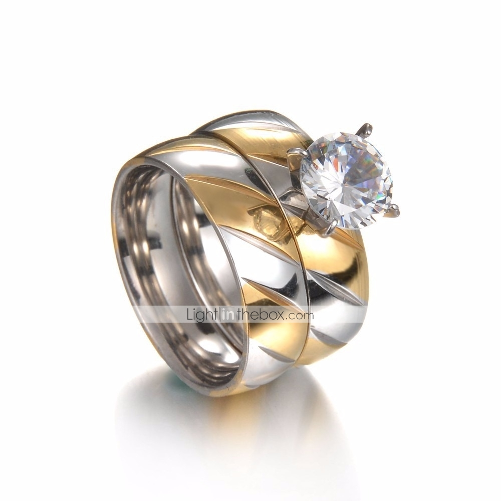 4c748350a9 Couple's Cubic Zirconia Stylish Two tone Solitaire Couple Rings Engagement  Ring Rhinestone Titanium Steel Steel Stainless Creative Ladies Stylish  Simple ...