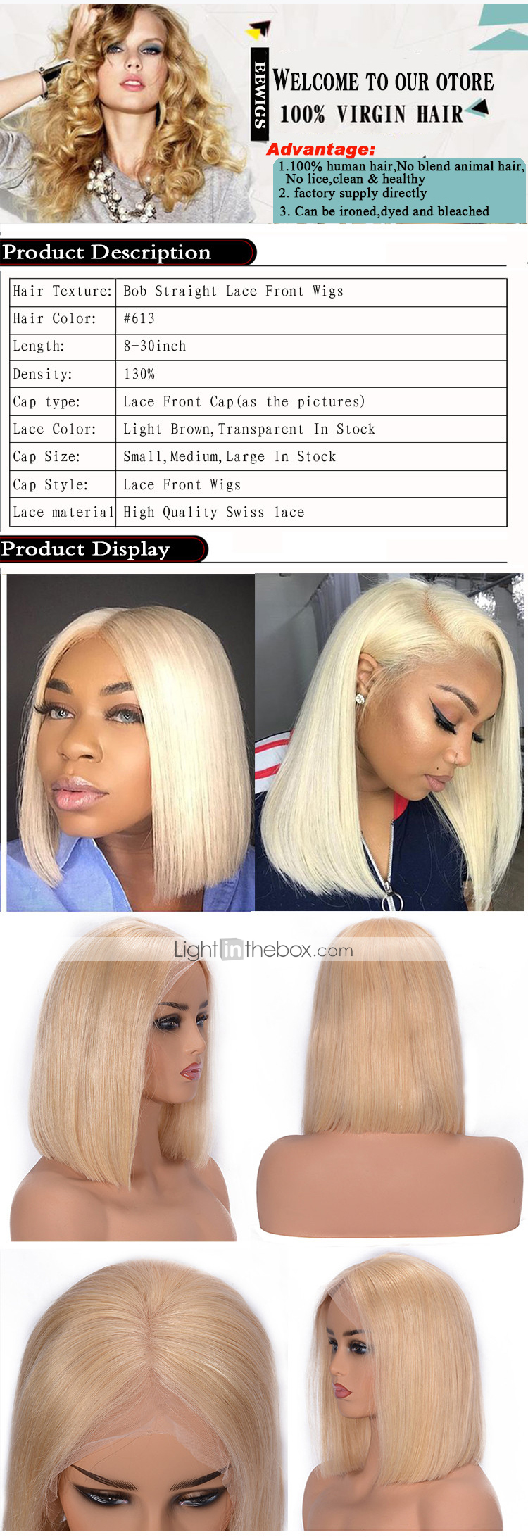 Human Hair Lace Front Wig Brazilian Hair Straight Blonde Wig Bob