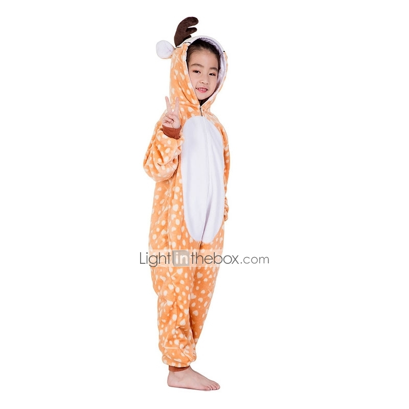 Kid s Kigurumi Pajamas Reindeer Onesie Pajamas Flannel Fabric Orange ... 3cf45d2c2