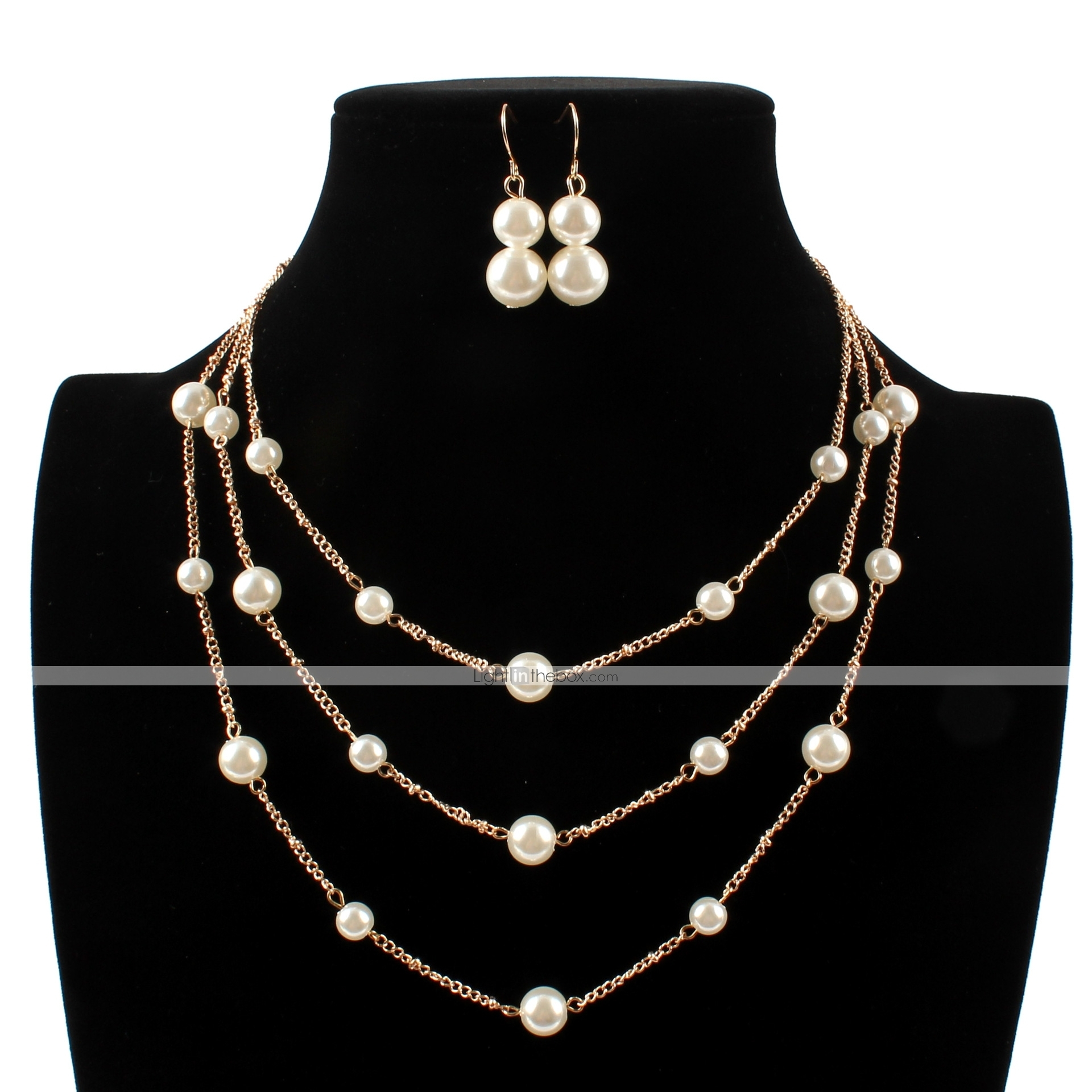 Women S Drop Earrings Necklace Layered Floating Ball Ball Ladies