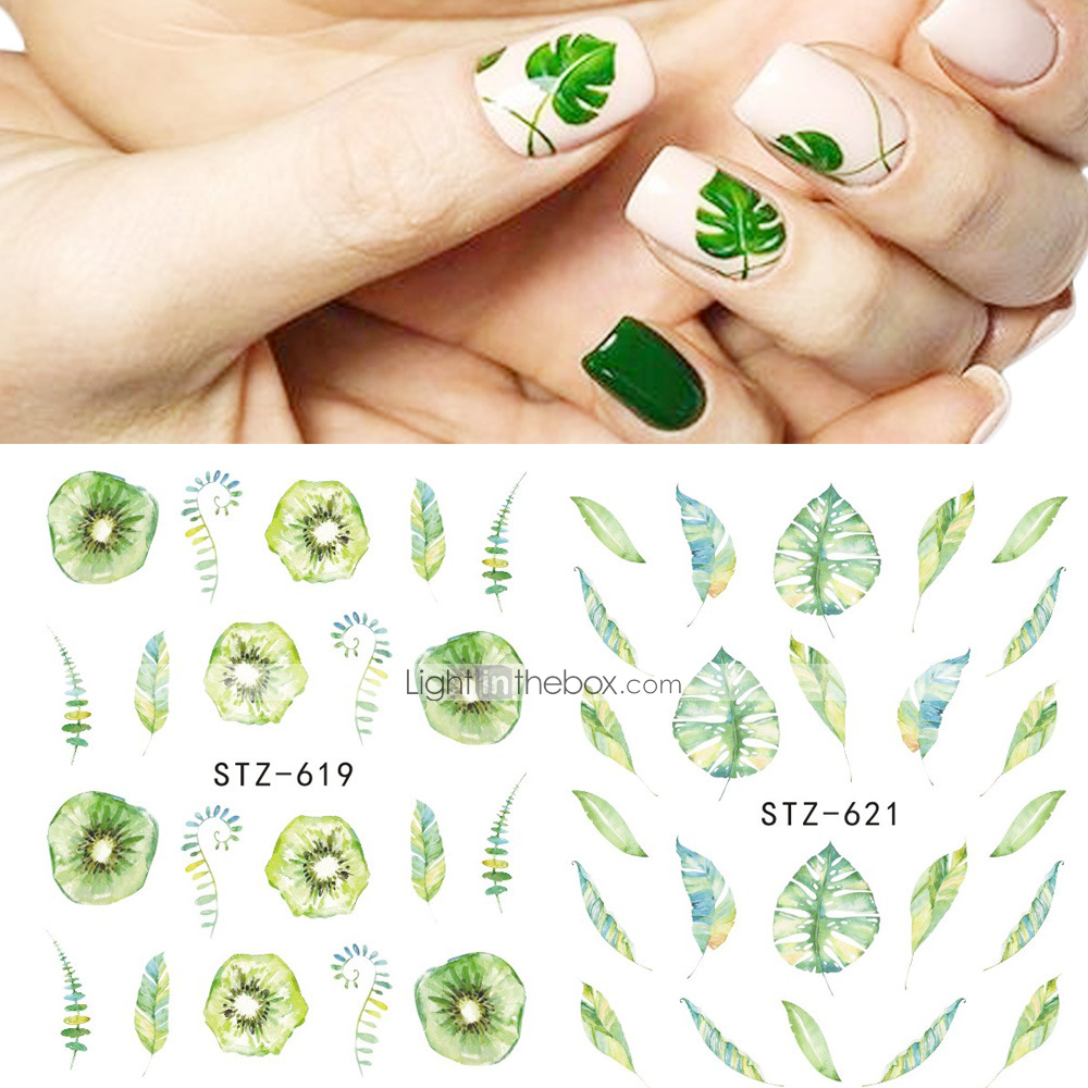 5 pcs water transfer sticker leaf fruit nail art manicure pedicure new design best quality high quality formaldehyde free tropical sweet christmas