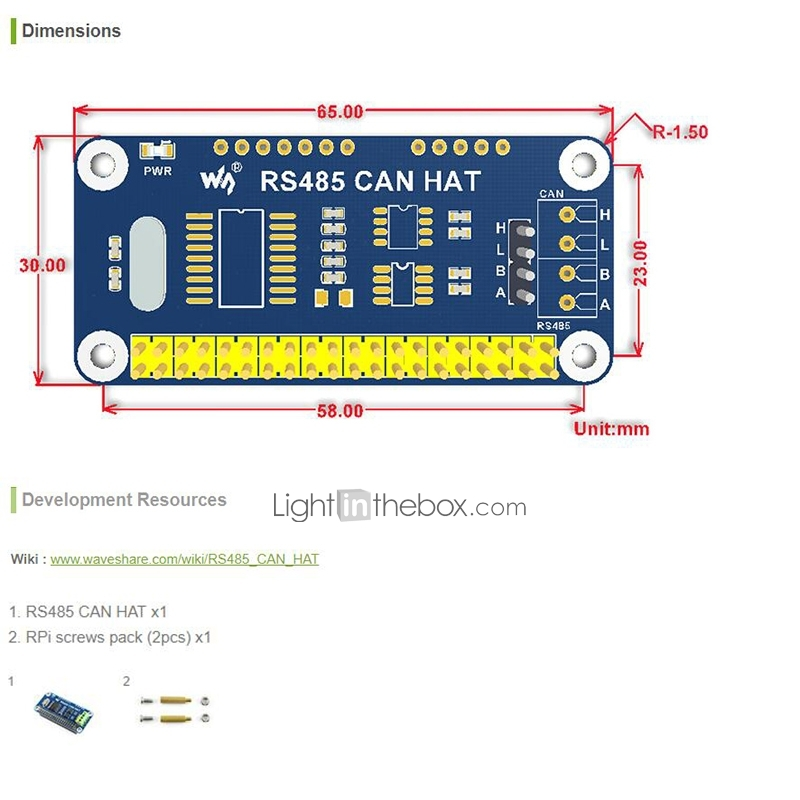 Transceiver SN65HVD230 IBest RS485 CAN HAT for Raspberry Pi Zero//Zero W//Zero WH//2B//3B//3B Transceiver SP3485 Allows Stable Long-distance Communication Onboard CAN Controller MCP2515