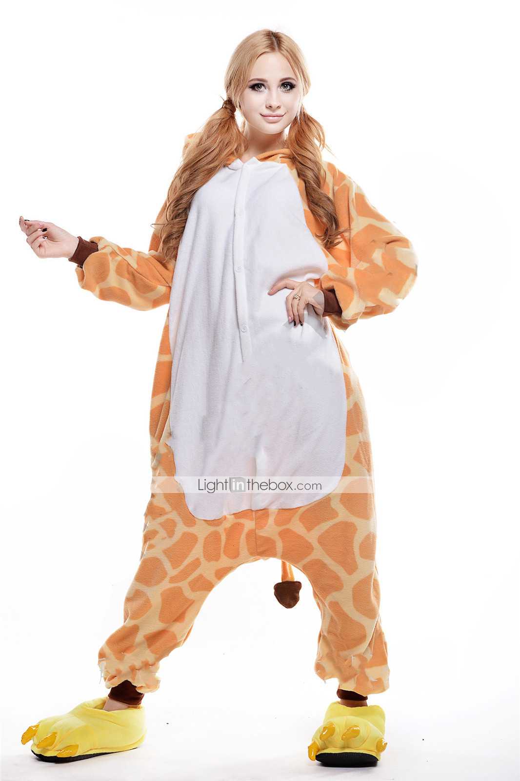 d75d8a16f3 Adults  Kigurumi Pajamas Giraffe Animal Onesie Pajamas Polar Fleece Orange  Cosplay For Men and Women Animal Sleepwear Cartoon Festival   Holiday  Costumes   ...