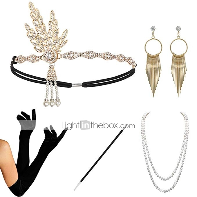 1920 Accessories Headband 1920 Accessories Set 1920 Headband Bracelet Ring Pearl Necklace Earring For Women Flapper Costume Theme Party