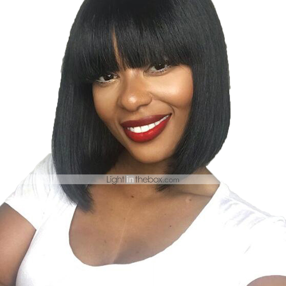 Mqyq Bob Wig Human Hair Wigs For Black Women Brazilian Straight Short Human Hair Wigs With Baby Hair Flat Bang Natural 807 Products Hot Sale Full Machine Wigs Lace Wigs