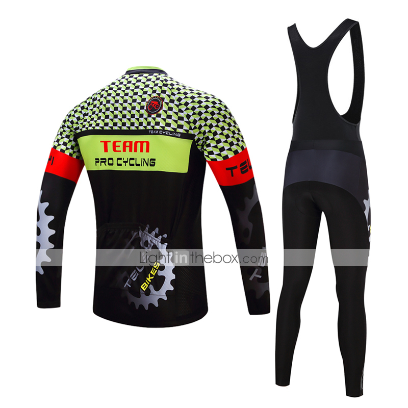 3826f770f TELEYI Men s Long Sleeve Cycling Jersey with Tights - White Black ...