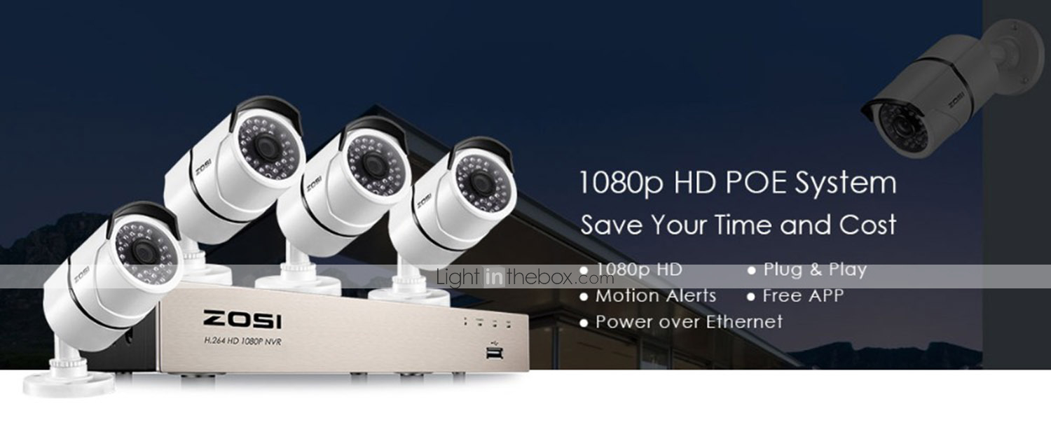 ZOSI® 4CH 1080P Video Security Camera System 4 White