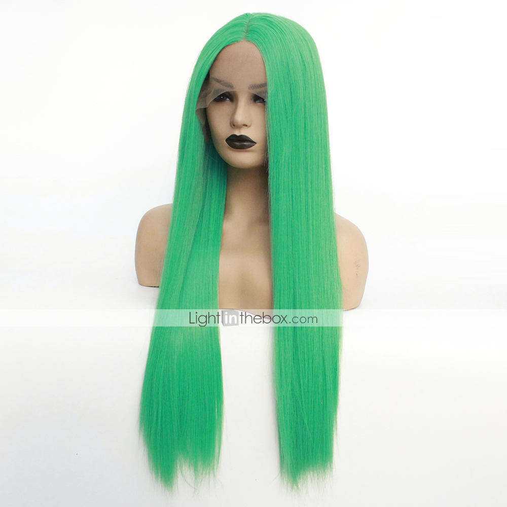 Synthetic Lace Front Wig   Ombre Women s Straight Green Middle Part  Synthetic Hair 22-26 inch Heat Resistant   Women   Hot Sale Green Wig Long  Lace Front ... b4091eb0f6