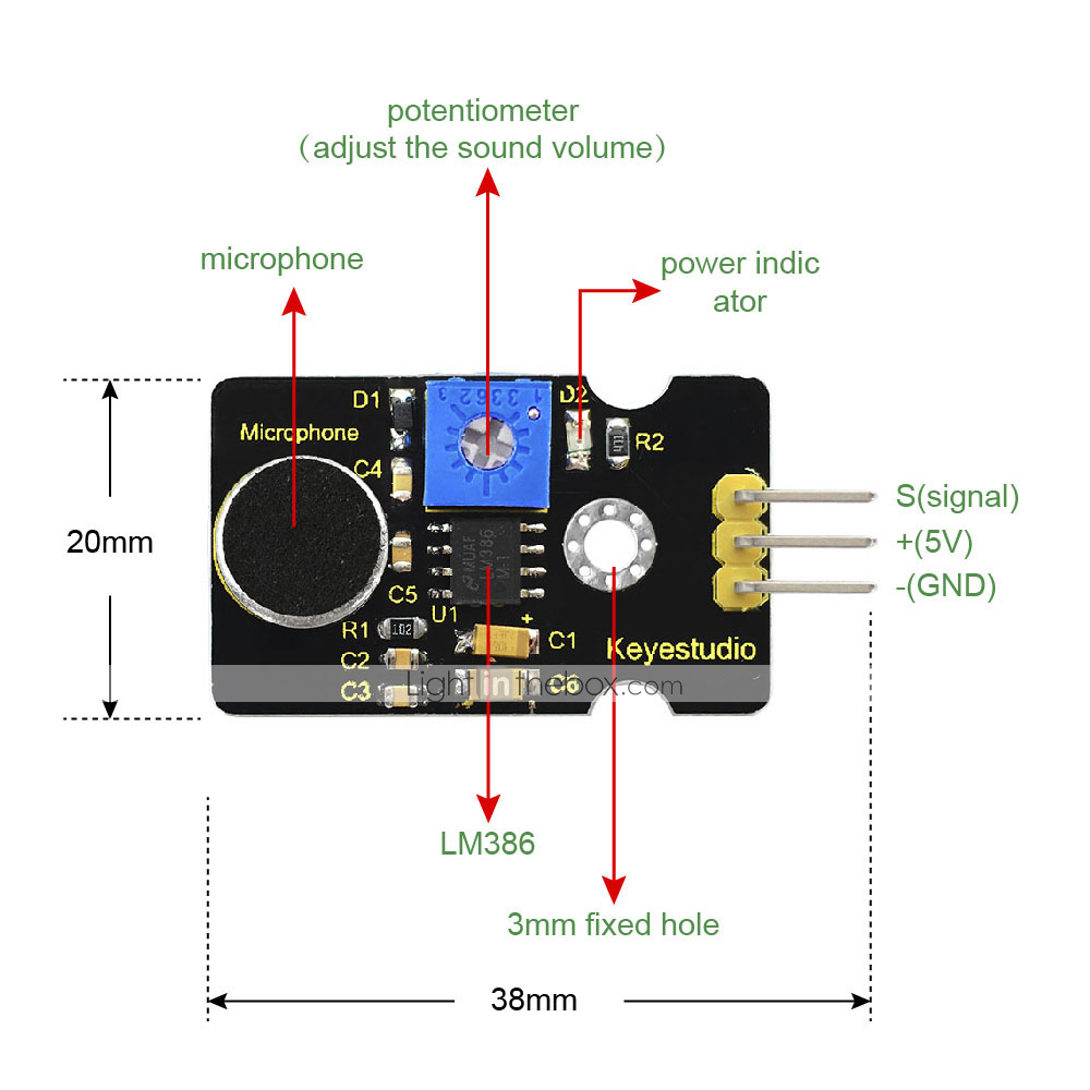 Keyestudio Analog Sound Noise Sensor Detection Module for
