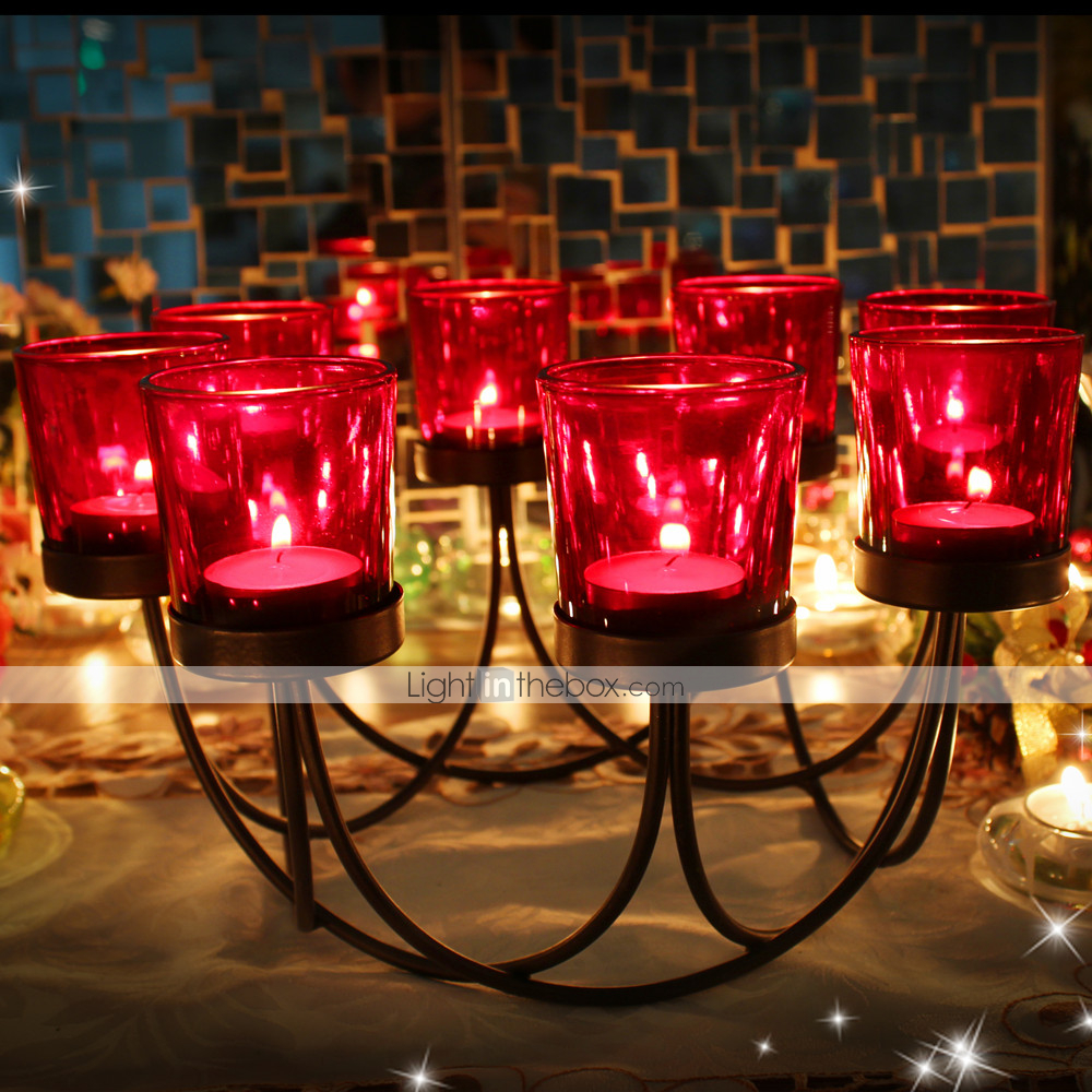 Modern Contemporary Simple Style Glasses Glass Iron Candle Holders Pillar Birthday Candlestick 1pc Holder 07146077