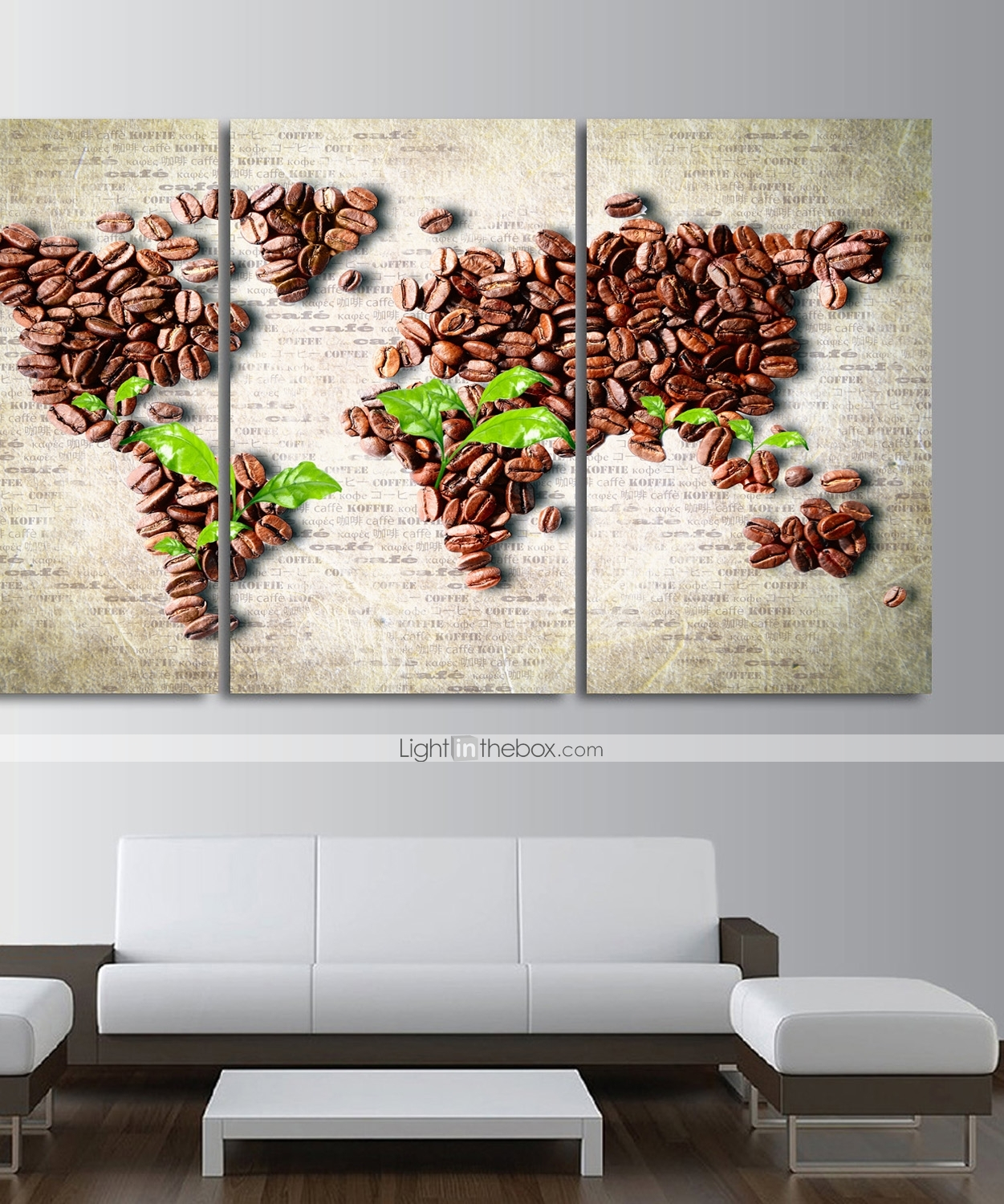 Print Stretched Canvas Prints - Arts Coffee Modern Three Panels Art